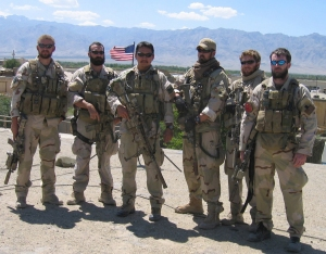 SEALs prior to Operation Red Wings (L to R): Matthew Axelson, Daniel R. Healy, James Suh, Marcus Luttrell, Eric S. Patton, Michael P. Murphy